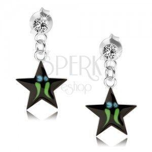 Srebrne kolczyki 925, czarna gwiazda - zielone paseczki, przezroczysty kryształ Swarovski obraz