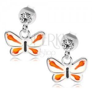 Srebrne 925 kolczyki, przezroczysty kryształek Swarovski, biało-pomarańczowy motylek obraz