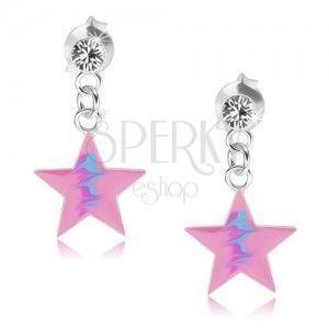 Wkręty, srebro 925, różowa gwiazda, niebieski zygzakowy wzór, kryształ obraz