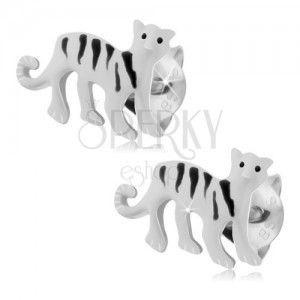 Srebrne kolczyki 925, biały tygrys z czarnymi paseczkami, zapięcie na sztyft obraz