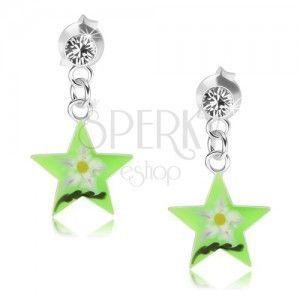 Srebrne kolczyki 925, zielona gwiazda z kwiatkiem, przezroczysty kryształ Swarovski obraz