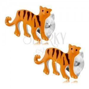 Srebrne kolczyki 925, pomarańczowy tygrys z czarnymi paseczkami, wkręty obraz