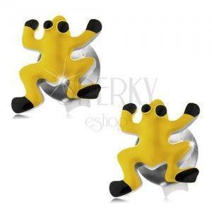 Kolczyki ze srebra 925, żółta żabka, czarne oczy i nóżki obraz