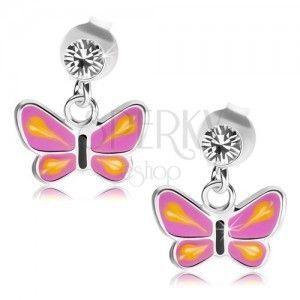 Srebrne kolczyki 925, motyl z fioletowymi skrzydłami, żółte łezki, przezroczysty kryształ obraz
