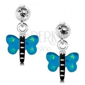 Kolczyki ze srebra 925, motyl z niebieskimi skrzydłami i zielonymi gwiazdeczkami obraz