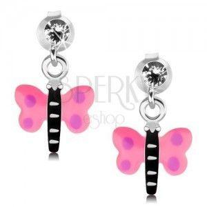 Srebrne 925 kolczyki, motylek z różowymi skrzydłami i fioletowymi kropkami obraz