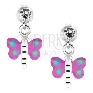 Kolczyki ze srebra 925, motyl z fioletowo-niebieskimi skrzydłami i białym ciałem obraz