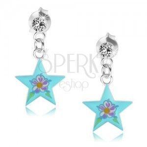 Wkręty ze srebra 925, lśniąca niebieska gwiazda, kolorowy kwiatek, kryształ obraz
