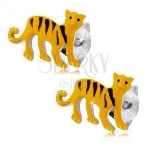 Srebrne 925 kolczyki, żółty tygrys z czarnymi paseczkami, wkręty obraz