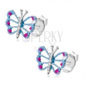 Kolczyki ze srebra 925, motylek z niebieskimi skrzydłami, wycięcia, różowe kropki obraz