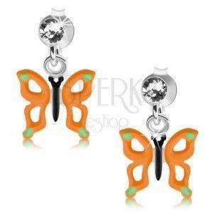 Wkręty, srebro 925, motyl z pomarańczowymi skrzydłami, wycięcia, kryształ obraz