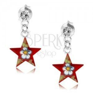 Kolczyki ze srebra 925, czerwona gwiazda z barwnym kwiatkiem, kryształ obraz