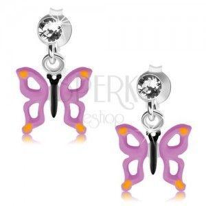 Srebrne 925 kolczyki, przezroczysty kryształek, motyl z fioletowymi skrzydłami i wycięciami obraz