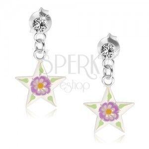 Srebrne kolczyki 925, gwiazda z przejrzystą emalią, kolorowy kwiatek obraz