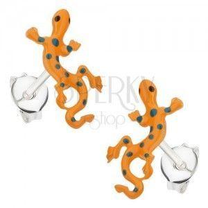 Srebrne kolczyki 925, jaszczurka z pomarańczową emalią i niebieskimi kropkami obraz