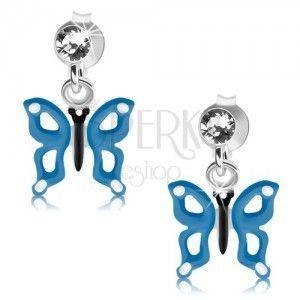 Srebrne kolczyki 925, niebiesko-biały motylek z wycięciami na skrzydłach, kryształ obraz