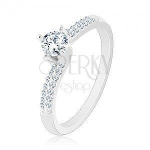 Zaręczynowy pierścionek ze srebra 925, cienkie błyszczące ramiona, okrągła bezbarwna cyrkonia obraz