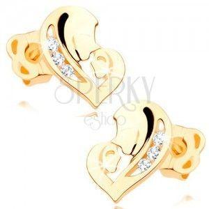 Kolczyki w żółtym 14K złocie - asymetryczne serce z dwóch kształtów, przezroczyste cyrkonie obraz