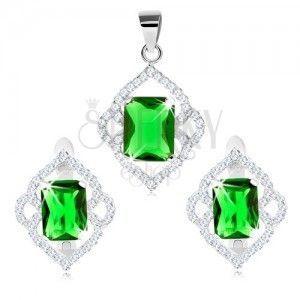 Zestaw ze srebra 925, kolczyki i zawieszka, zielony cyrkoniowy prostokąt, przezroczyste zarysy obraz