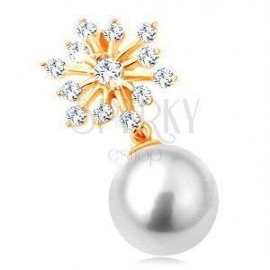 Zawieszka z żółtego 14K złota - błyszczący płatek śniegu, okrągła biała perła obraz