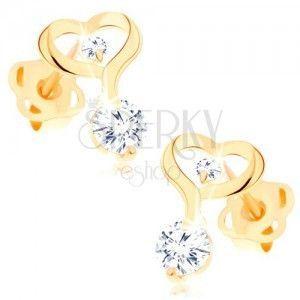 Kolczyki z żółtego 14K złota - kontur serca z przedłużoną linią, przezroczyste cyrkonie obraz