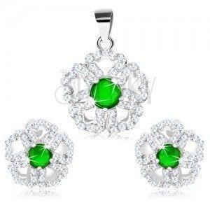 Zestaw ze srebra 925 - zawieszka i kolczyki, błyszczący kwiat z zielonym środkiem obraz