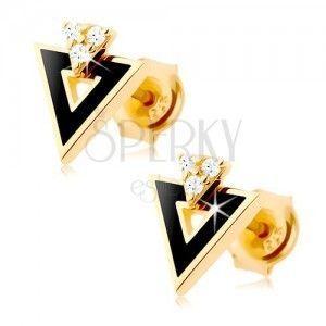 Kolczyki z żółtego 14K złota - czarny trójkąt z wycięciem, przezroczyste cyrkonie obraz