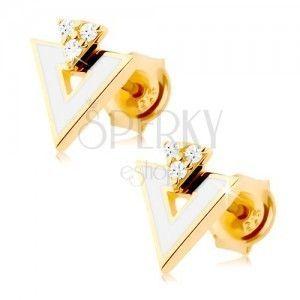 Złote kolczyki 585 - biały trójkąt z wycięciem, trzy przezroczyste cyrkonie obraz