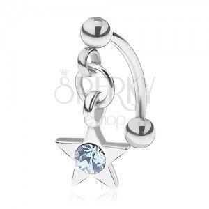 Stalowy piercing do brwi, pięcioramienna gwiazda, okrągła niebieska cyrkonia obraz