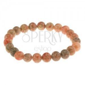 Elastyczna bransoletka, koraliki z naturalnego kamienia, zielone i pomarańczowe odcienie obraz