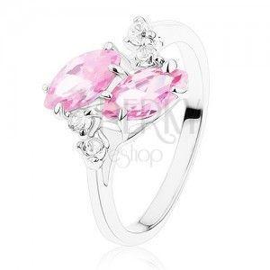 Lśniący pierścionek w srebrnym odcieniu, dwa różowe cyrkoniowe ziarenka, przezroczyste cyrkonie obraz