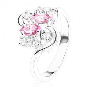 Pierścionek srebrnego koloru z falistymi ramionami, różowe i przezroczyste cyrkonie obraz