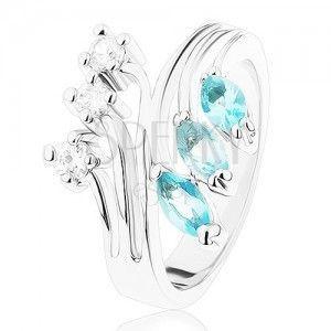 Pierścionek z rozdzielonymi ramionami, jasnoniebieskie i przezroczyste cyrkonie obraz