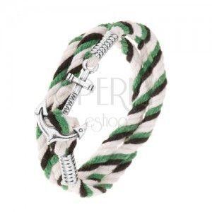 Pleciona bransoletka z czarnych, zielonych i dwóch białych sznurków, lśniąca kotwica obraz