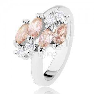 Błyszczący pierścionek w srebrnym odcieniu, jasnobrązowe ziarenka, przezroczyste cyrkonie obraz