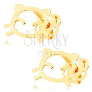 Kolczyki w żółtym 14K złocie - zarys kotka o lśniącej i gładkiej powierzchni obraz