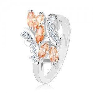 Błyszczący pierścionek w srebrnym odcieniu, pomarańczowe ziarenka, przezroczyste cyrkonie obraz