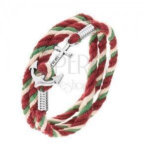 Bransoletka ze sznurków zielonego, beżowego i bordowego koloru, lśniąca kotwica obraz
