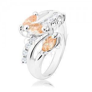 Pierścionek srebrnego odcieniu, przezroczyste cyrkoniowe pasy, pomarańczowe wyszlifowane ziarenka obraz