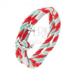Turkusowo-czerwona bransoletka z zawiniętych sznurków, kotwica srebrnego koloru obraz
