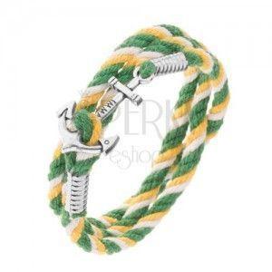 Kolorowa bransoletka na rękę w zielonym, żółtym i białym kolorze, lśniąca kotwica obraz