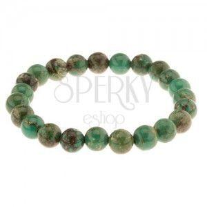 Elastyczna bransoletka z zielonego turkusu, kuleczki na elastycznej gumeczce obraz
