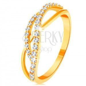 Złoty pierścionek 585 - przeplecione fale - jedna gładka i dwie cyrkoniowe obraz