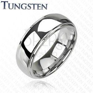 Wolframowy pierścionek z podwyższonym środkiem, lustrzany połysk, 8 mm obraz