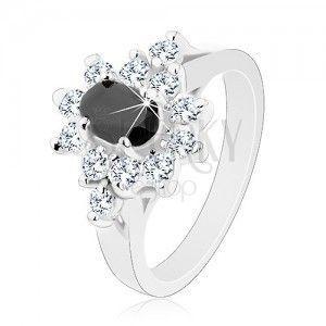 Lśniący pierścionek srebrnego koloru, czarny cyrkoniowy owal z obwódką bezbarwnego koloru obraz