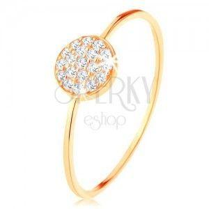 Złoty pierścionek 585 - cienkie lśniące ramiona, krążek wyłożony przezroczystymi cyrkoniami obraz