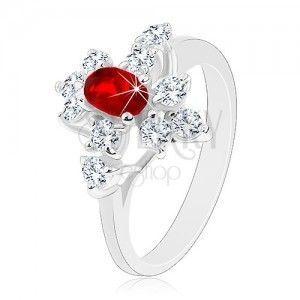 Błyszczący pierścionek, srebrny kolor, czerwony owal, przezroczyste cyrkonie obraz