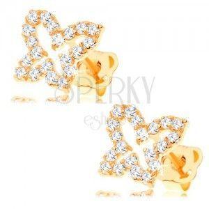Złote kolczyki 585 - zarys motyla wyłożony przezroczystymi cyrkoniami, wkręty obraz