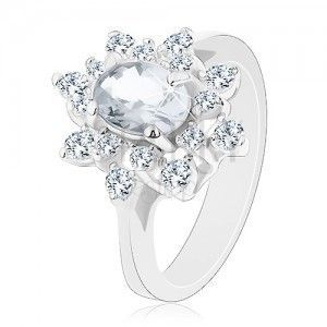 Błyszczący pierścionek w srebrnym odcieniu, kwiat z przezroczystymi cyrkoniami obraz