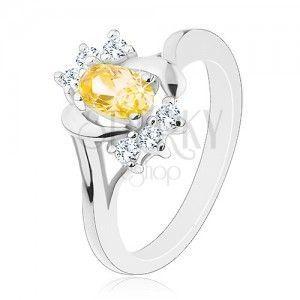 Lśniący pierścionek z żółtą owalną cyrkonią, srebrny kolor, przezroczyste cyrkonie obraz